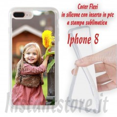 Cover Flexi per iPhone 8 personalizzata con stampa sublimatica lati in silicone