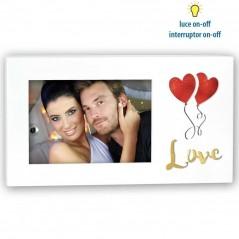 Cornice Fotografica 10x15 con cuore e scritta Love retroilluminato Portafoto Anastasia