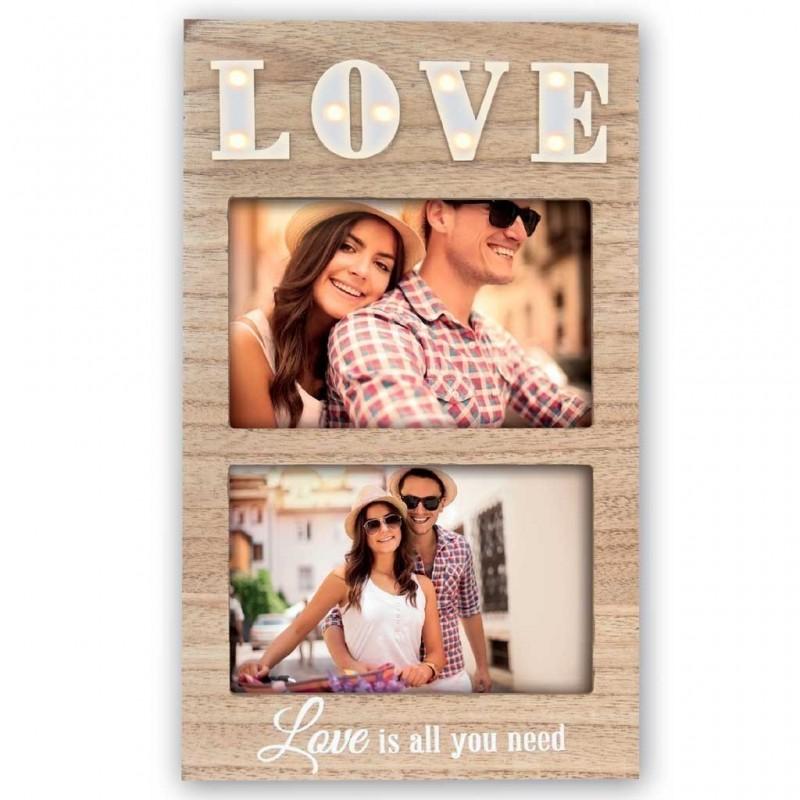 Cornice portafoto 10x15 retroilluminata in legno con scritta Love