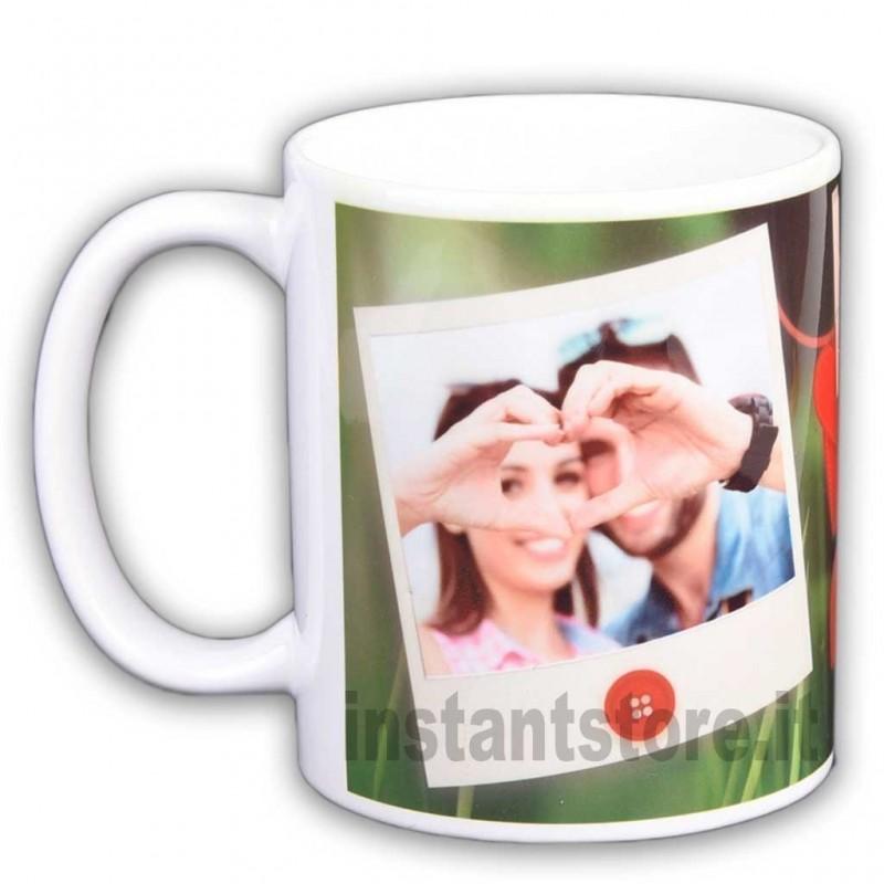 Tazza San Valentino innamorati personalizzata con foto in polaroid e cuori - idea regalo