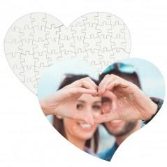 Puzzle personalizzabile con foto in masonite lucida a forma di cuore