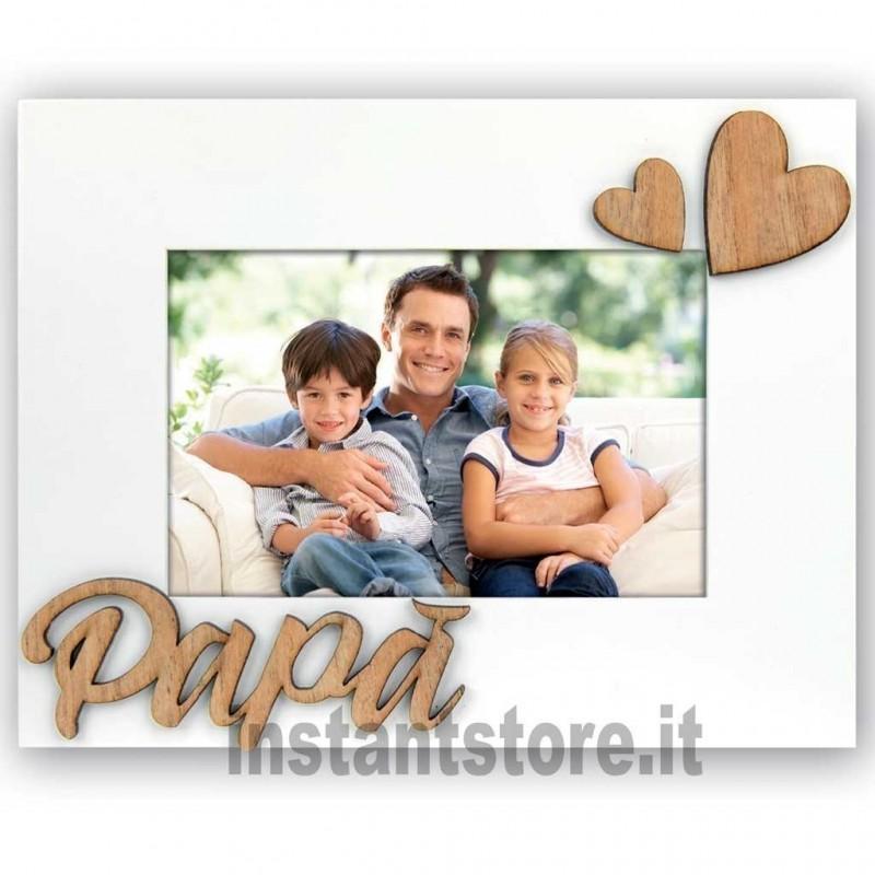 Cornice portafoto in legno 10x15 con cuore e scritta Papà MP46IE