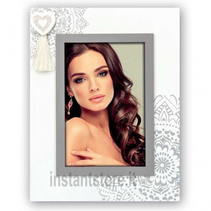 Cornice portafoto in legno Oise V portafoto 10x15 con cuore