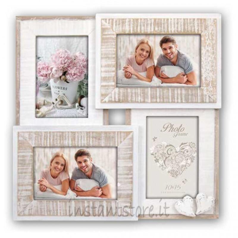 Cornice fotografica in legno 4 foto 10x15 Portafoto multipla ZEP Molveno WW4357