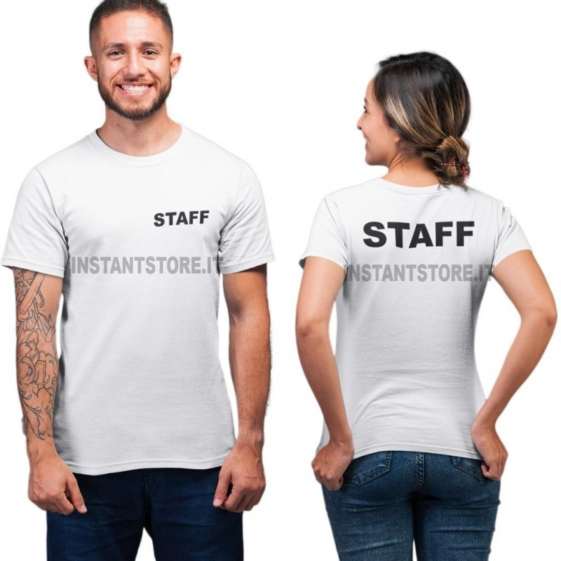 T-Shirt scritta Staff unisex maglietta bianca per bar locali negozi ecc