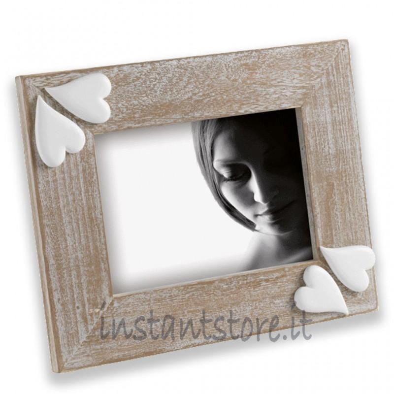 Cornice Portafoto in legno 13x18 Mascagni con cuori in resina m888