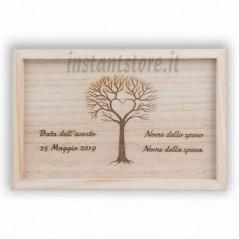 Scatola in legno con incisione personalizzata portafoto e Pennetta usb - Hand Ma
