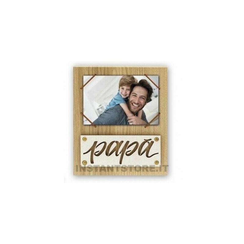 Cornice in legno scritta Papà per foto 10x15 portafoto con elastico ng4746