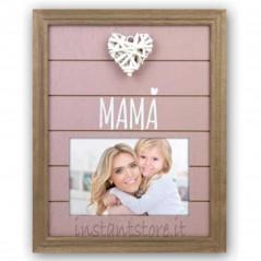 Cornice portafoto in legno 10x15 Mamà con cuore Leonor es