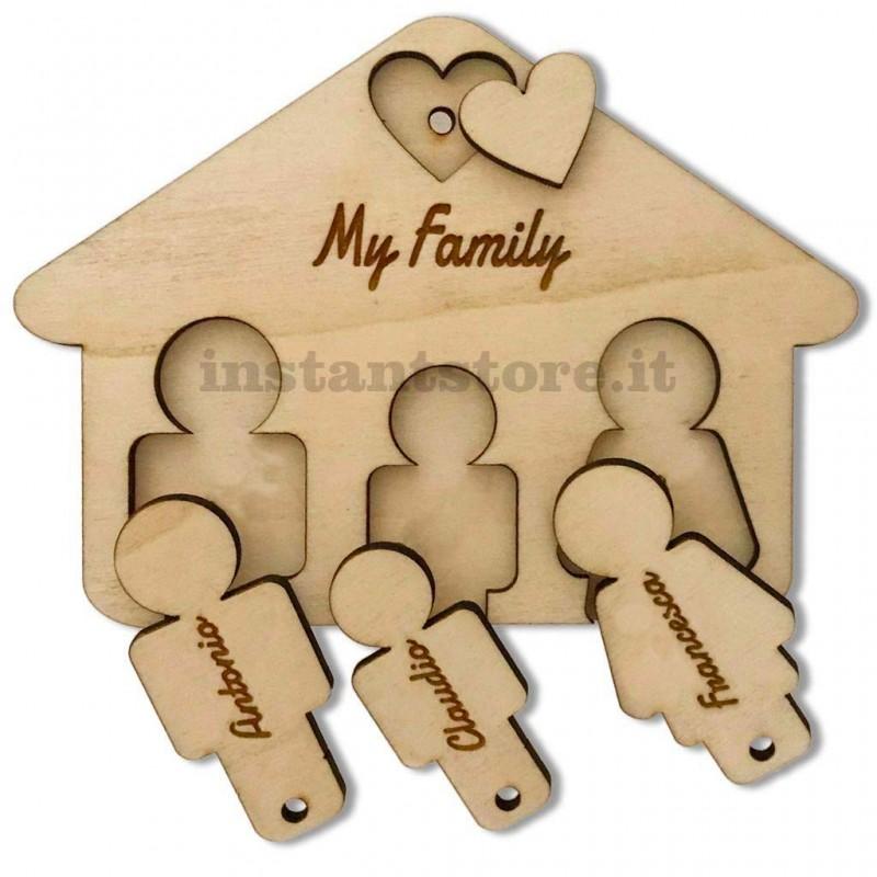 Portachiavi in legno casetta personalizzato con incisione