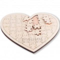 Puzzle in legno vuoto a forma di cuore da personalizzare colorare decorare ecc
