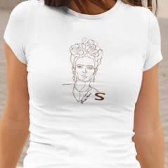 T-Shirt bianca maglietta a tema arte con Frida Kahlo