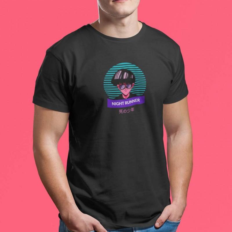 T-Shirt nera maglietta a tema anime Night Runner