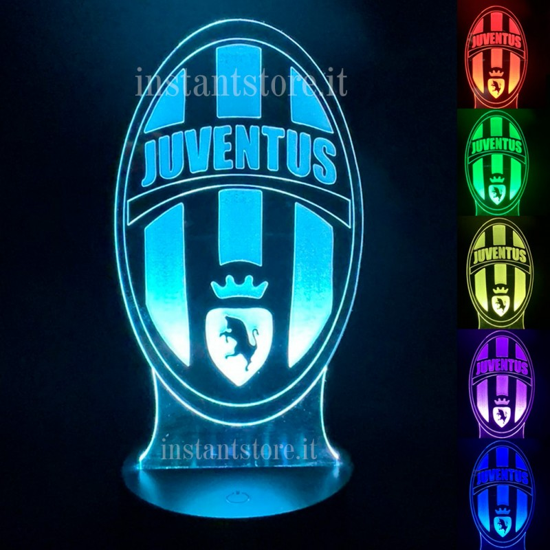 Lampada Calcio Juventus personalizzabile con led multicolore