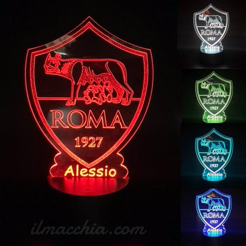 Lampada Calcio Roma personalizzabile con led multicolore