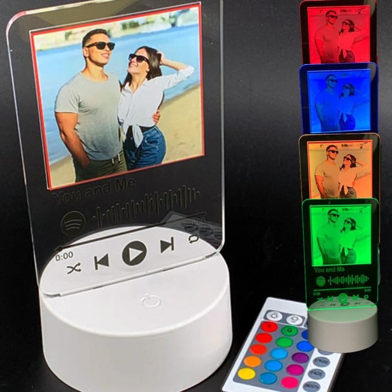 Lampada led con foto e codice spotify personalizzata multicolore